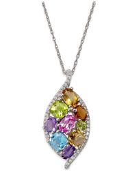 Macy's - Metallic Multicolor Gemstone (3-3/4 Ct. T.w.) Pendant Necklace In 14k White Gold - Lyst