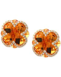 Effy Collection - Orange Citrine (7-1/10 Ct. T.w.) & Diamond (1/5 Ct. T.w.) Clover Earrings In 14k Gold - Lyst