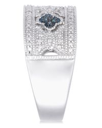 Macy's Metallic Diamond Ornate Filigree Band (1/10 Ct. T.w.) In Sterling Silver