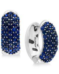 Effy Collection - Blue Sapphire Pavé Hoop Earrings (2-3/4 Ct. T.w.) Set In Sterling Silver - Lyst