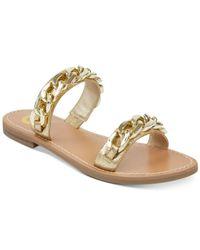G by Guess - Metallic Tunez Flat Sandals - Lyst