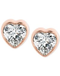 Michael Kors | Metallic Crystal Heart Stud Earrings | Lyst