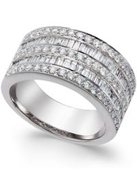 Macy's Five-row Diamond Ring (1-1/4 Ct. T.w.) In 14k White Gold