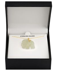 """Macy's - Metallic Rose Quartz (27mm) Elephant 18"""" Pendant Necklace In 18k Gold-plated Sterling Silver - Lyst"""