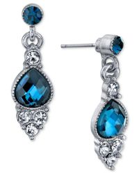 2028 - Metallic Silver-tone Clear & Blue Crystal Drop Earrings - Lyst