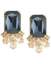 Carolee - Gold-tone Blue Crystal Stud Earrings - Lyst