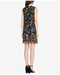 Tahari Black Floral Embroidered Shift Dress