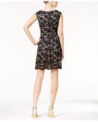 Vince Camuto Black Floral Lace Fit & Flare Dress