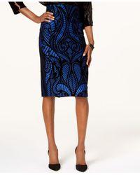 Eci - Blue Flocked Lace-print Pencil Skirt - Lyst