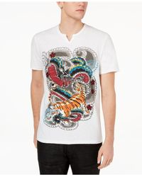 INC International Concepts - White Graphic-print Split-neck T-shirt, Created For Macy's for Men - Lyst