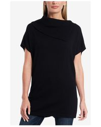 Vince Camuto Black Short Sleeve Cowl Neck Sweater Tunic