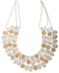 "Lonna & Lilly Metallic Gold-tone & Imitation Pearl Multi-row Statement Necklace, 16"" + 3"" Extender"