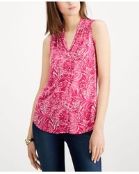 Charter Club Pink Sleeveless Printed Pleated-neck Top, Created For Macy