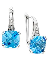 Macy's - Blue Tanzanite (1-5/8 Ct. T.w.) And Diamond (1/8 Ct. T.w.) Square Stud Earrings In 14k White Gold - Lyst
