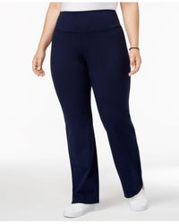 Style & Co. Blue Plus Size Pants, Tummy-control Straight-leg Trousers