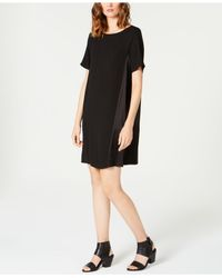Eileen Fisher - Black Pullover Silk Shift Dress - Lyst
