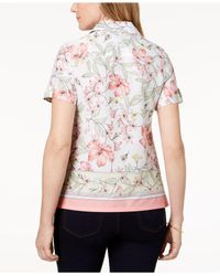 Karen Scott Pink Petite Cotton Border-trim Button-down Top, Created For Macy's