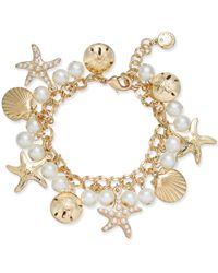 Charter Club   Metallic Gold-tone Imitation Pearl Sea Motif Bracelet   Lyst