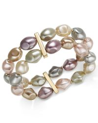 Charter Club - Metallic Gold-tone Imitation Pearl Double-row Stretch Bracelet, Created For Macy's - Lyst