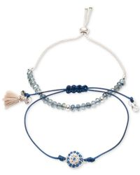 Lonna & Lilly - Blue Silver-tone 2-pc. Set Crystal, Bead & Tassel Corded Slider Bracelets - Lyst