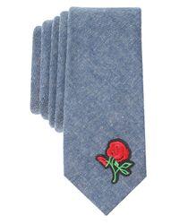 Original Penguin Blue Rose Appliqué Skinny Tie for men