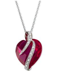 Macy's Red Lab-created Ruby (10-3/4 Ct. T.w.) & White Sapphire Accent Heart Pendant Necklace In Sterling Silver