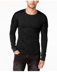 Guess Black Men's Long-sleeve Waffle-knit T-shirt for men