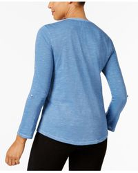 Style & Co. - Blue Crochet-detail Top, Only At Macy's - Lyst