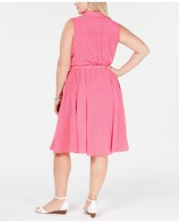 Charter Club Pink Plus Size Belted Polka-dot Dress, Created For Macy's