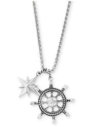 Effy Collection - Metallic Men's Ship's Wheel And Star Pendant Necklace In Sterling Silver for Men - Lyst