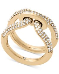 Michael Kors | Metallic Black Ion-plated Pavé Link Ring | Lyst
