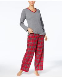 Charter Club - Red Flannel Mix It Top & Printed Pants Pajama Set - Lyst