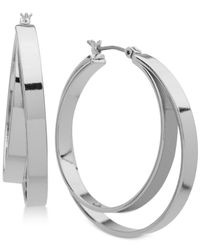 DKNY - Metallic Double-hoop Earrings - Lyst