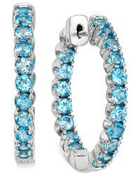 Macy's   Swiss Blue Topaz Inside-out Hoop Earrings (4 Ct. T.w.) In Sterling Silver   Lyst