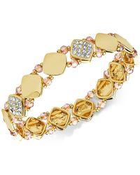 Nine West Metallic Polished Pavé Stretch Bracelet