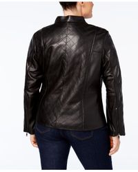 Jones New York - Black Plus Size Quilted Leather Jacket - Lyst
