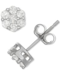 Macy's - Metallic Diamond Cluster Stud Earrings (1/2 Ct. T.w.) In Sterling Silver - Lyst