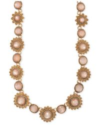 Marchesa - Metallic Gold-tone Colored Stone Collar Necklace - Lyst