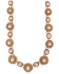 Marchesa Metallic Gold-tone Colored Stone Collar Necklace