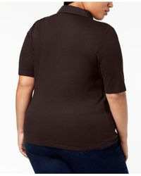 Karen Scott Brown Plus Size Studded Polo Shirt, Created For Macy's