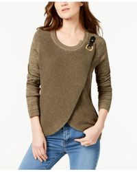 INC International Concepts - Green Surplice Sweater, Created For Macy's - Lyst
