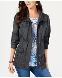 Style & Co. Gray Cotton Cargo Zip-front Jacket, Created For Macy