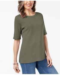 Karen Scott - Green Cuffed Boat-neck Top, Created For Macy's - Lyst