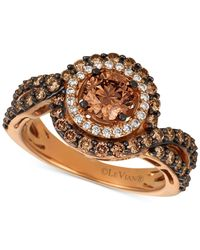 Le Vian - Metallic Diamond Halo Ring (1-1/10 Ct. T.w.) In 14k Rose Gold - Lyst