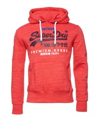 Superdry Red Premium Goods Tri Infill Hoodie for men