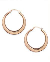 Macy's - Metallic 10k Rose Gold Earrings, Polished Gradient Key Hoops - Lyst