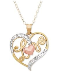 Macy's - Metallic Tri-color Love Heart Pendant Necklace In 10k Gold, Rose Gold And White Rhodium-plate - Lyst