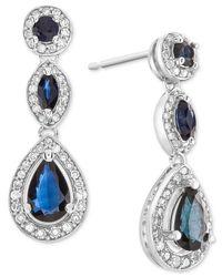 Macy's Multicolor Sapphire (1-1/2 Ct. T.w.) & Diamond (1/3 Ct. T.w.) Drop Earrings In 14k White Gold