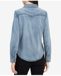 Calvin Klein - Blue Cotton Denim Shirt - Lyst