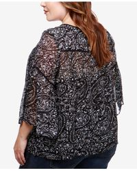 Lucky Brand - Black Trendy Plus Size Printed Bell-sleeve Top - Lyst